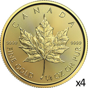 4-x-1-4-oz-Gold-2019-Maple-Leaf-Coin-2019-9999-RCM-Royal-Canadian-Mint