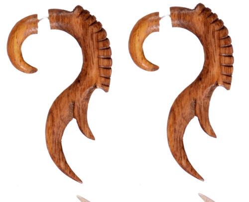 Wooden Handmade African Wood Fake Gauge Faux Plug Cheater Earring WER170