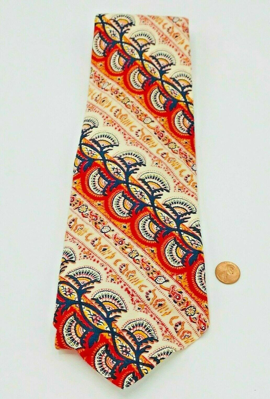 Resilio Mod 70s Vintage Wide Tie 100% Wool Psychedelic Brown Orange White