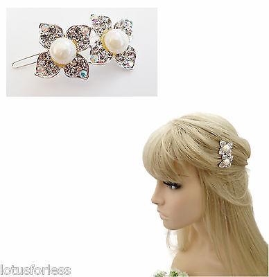 Pretty Large Pearl Hair Clip Grip in a Flower Design with Diamante Silver Tone