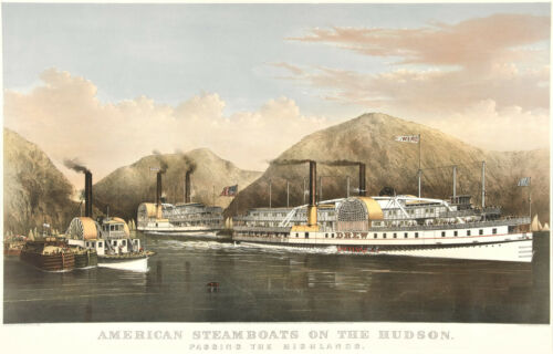 Currier /& Ives Reproductions American Steamboats on the Hudson Fine Art Print