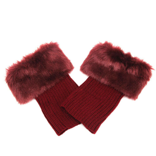 Ladies Faux Fur Knee Leg Warmers Knitted Boots Toppers Slouch Socks Winter Warm