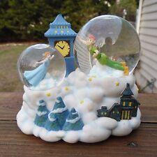 Disney Peter Pan Wendy Flying Cloud Clock Tower Music Double SnowGlobe
