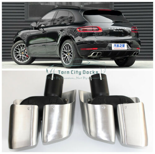 4S Sport Stainless Steel Quad Exhaust Pipes Muffler Tips For 14-up Porsche Macan