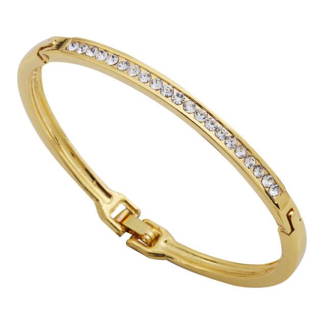 Gold Plated Women Crystal Rhinestone Bracelet Hollow Cuff Bangle WOMEN Jewelry