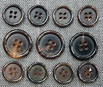 High Quality Dark Brown Genuine Horn Buttons For Suit, Blazer, or Sport Coat