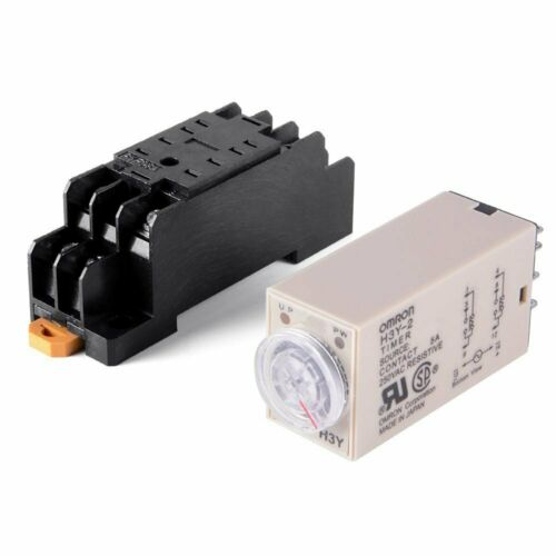 H3Y-2 AC 24V Time Delay Relay Solid State Timer 0-60 Seconds DPDT w Socket Base