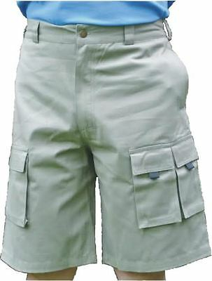 KHAKI HEAVY DUTY CANVAS MULTI POCKET CARGO SHORTS COMBAT ACTION WALKING HIKING