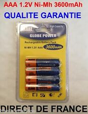 4 Piles AAA 3600mAh Rechargeable Mignon LR3 1.2V Ni-Mh  TRES PUISSANT