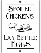 Spoiled Chickens Indoor/Outdoor Aluminum No Rust No Fade Chicken Coop Sign