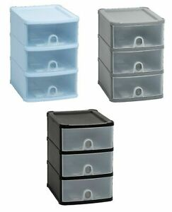 NEW-A5-PLASTIC-HANDY-DRAWER-UNIT-STORAGE-ORGANIZER-SILVER-BLACK-COOL-BLUE-TIDY