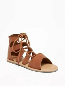 Girls Old Navy Tan Faux Leather Lace Up