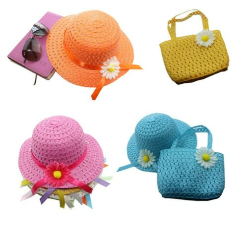 Flower Handbag Suit Summer Picnic Sun Hat Straw Cap Girl Kids Lovely Beach Hat