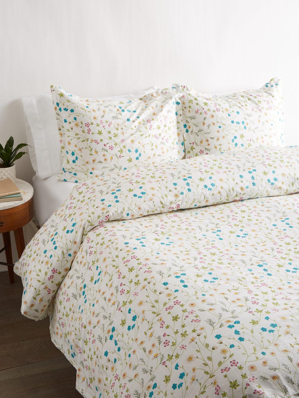 400 Thread Count 100% Cotton Wildflower Emb Sheet Set   Duvet Set