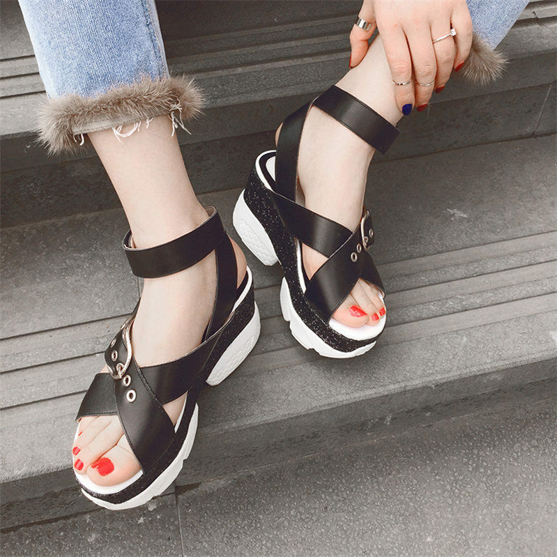 Donna  Cow Leather Strappy Strappy Strappy Roman Gladiator Sandals Platform Wedges Summer scarpe fa067b