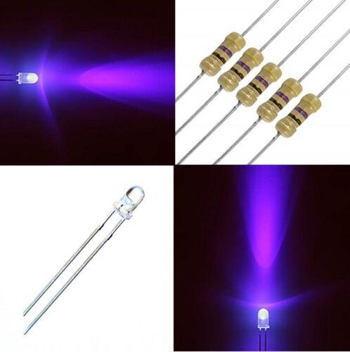 100 LED Diodes 3 mm UV UltraViolet High Brightness Free Resistors