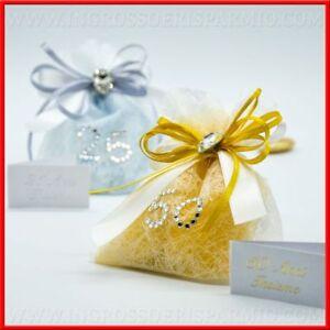 Sacchetti 25 50 Anni Di Matrimonio Portaconfetti Argento Oro Prezzi
