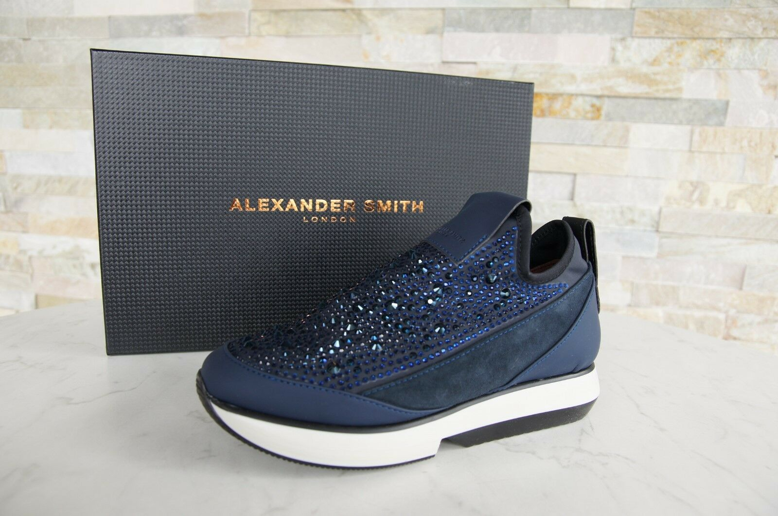 Alexander Scarpe SMITH taglia 35 Slipper Scarpe basse Sneakers Scarpe Alexander Strass Blu Nuovo UVP 917556