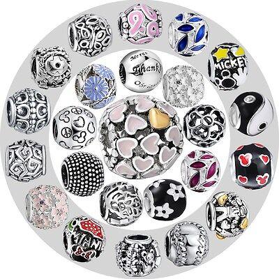 New!Women Jewelry Silver Charms Bead Fit European 925 Sterling Bracelet Bangle