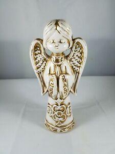 Vintage-Praying-White-Gold-Ceramic-Angel-Figurine-Serene-10-034-Tall