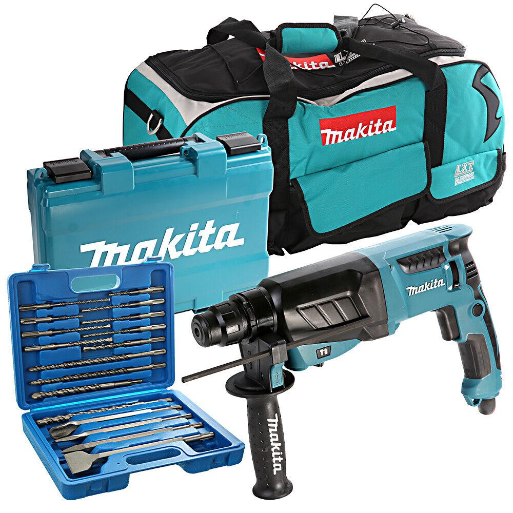 Makita HR2630 SDS+ Rotary Hammer Drill 240V + LXT600 Bag & 17pc Drill Bit Set