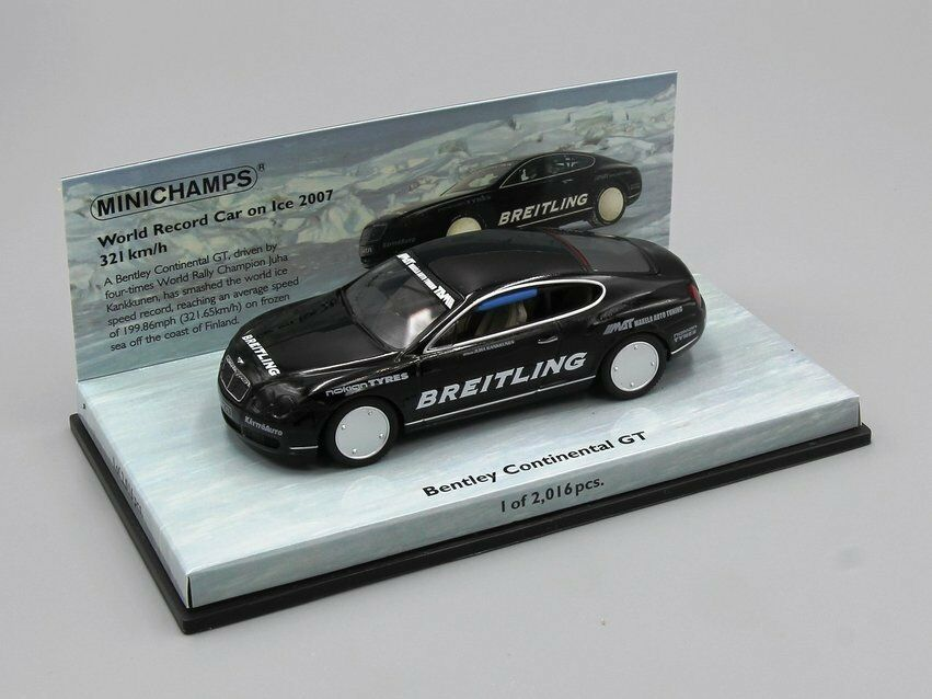 MINICHAMPS 1 43 BENTLEY CONTINENTAL GT  WORLD RECORD CAR ON ICE  2007  321 KM