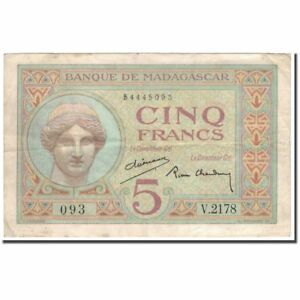 #593993 Vf 5 Francs Banknote 30-35 Km:35 New Varieties Are Introduced One After Another Madagascar