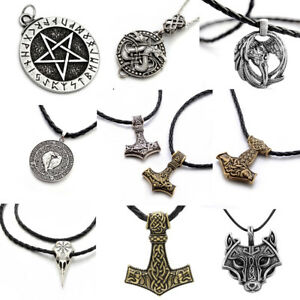 Men-Nordic-Viking-Mjolnir-Pendant-Leather-Cord-Myth-Thor-039-s-Hammer-Norse-Necklace