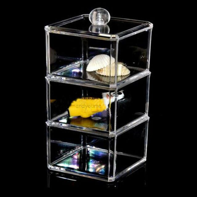 3-Layers Clear Acrylic Cosmetic Makeup Organizer Jewelry Holder Storage Case Box