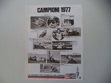 advertising Pubblicità 1978 CHAMPION e ANGEL NIETO/NIKI LAUDA/BARRY SHEENE