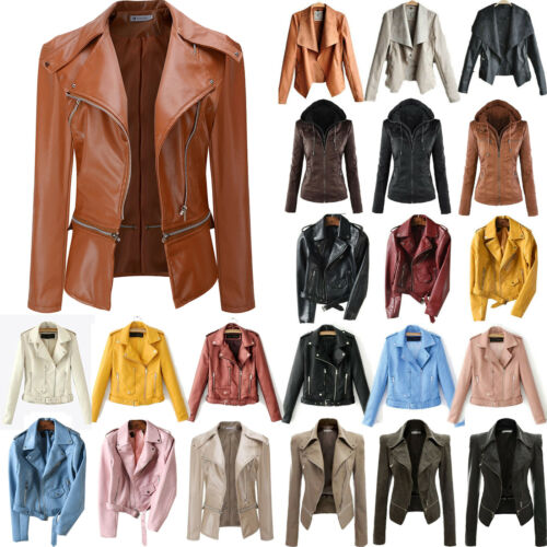 Women's Faux Leather Biker Jacket Flight Coat Punk Zipper Casual Tops Outerwear