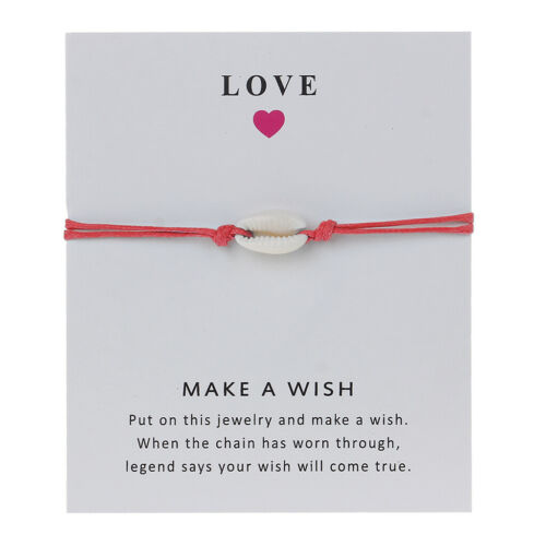 Wish Card Gift Nature Shell Red String Cord Bracelet Friendship Handmade Jewelry