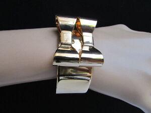 Women-Bracelet-Cuff-Gold-Metal-Fashion-Jewelry-2-Double-Bow-Tie-Ribbon-Dressy