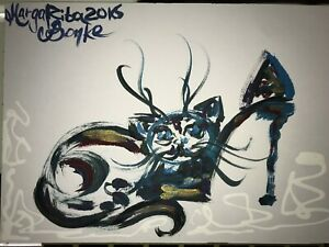 ORIGINAL-katze-MALEREI-PAINTING-zeichnung-cat-contemporary-ART-NAIV-BILD-A4-om-3