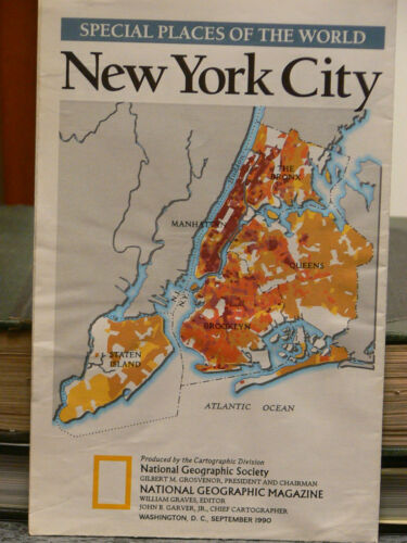 Vintage 1990 National Geographic Map of New York