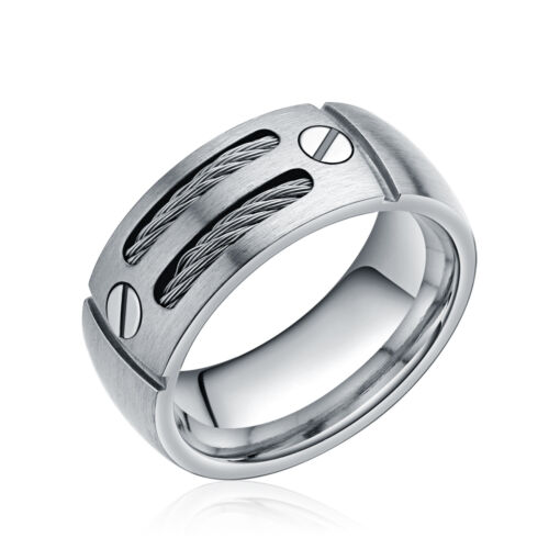8mm Titanium Men`s Rope Cable Inlay Anniversary Wedding Band Ring Size 7 8-13