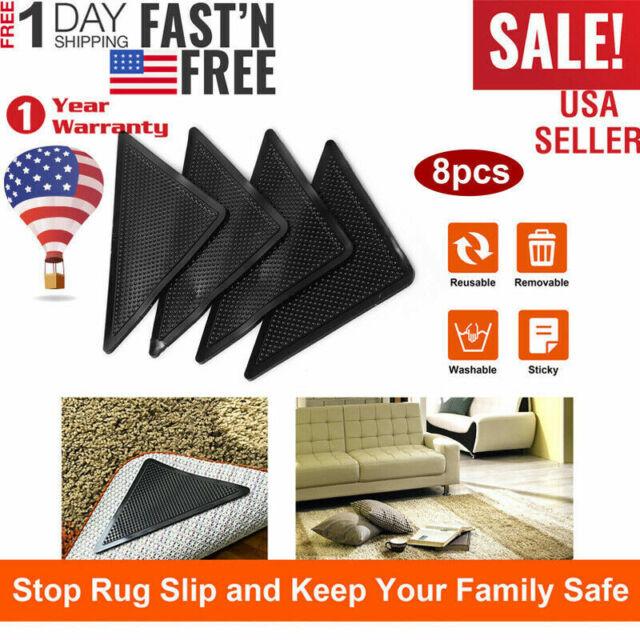 4//8//16Pcs Area Rug Gripper Pad Non Slip Anti Curling Carpet Mat Gripper Washable