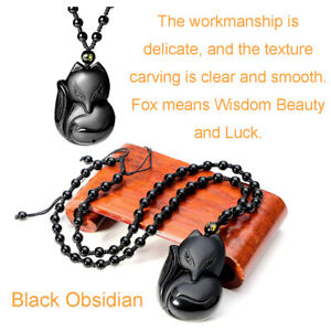 """1.3/"""" Tiger Head Pendant Stone Carving Black Obsidian Crystal Healing Necklace"""