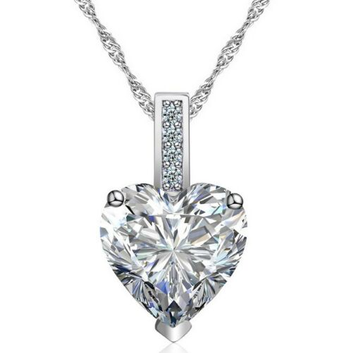 """18/"""" Sterling Silver Cubic Zirconia Heart Blue Pink Pendant Necklace Gift Box A9"""