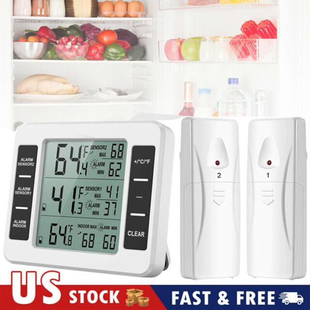 Wireless Digital Refrigerator Freezer Thermometer Alarm High Low Temperature