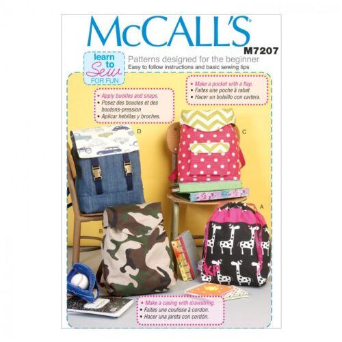 mccalls - 72... Mccalls Childrens fácil aprender a coser Sewing Pattern 7207 mochilas