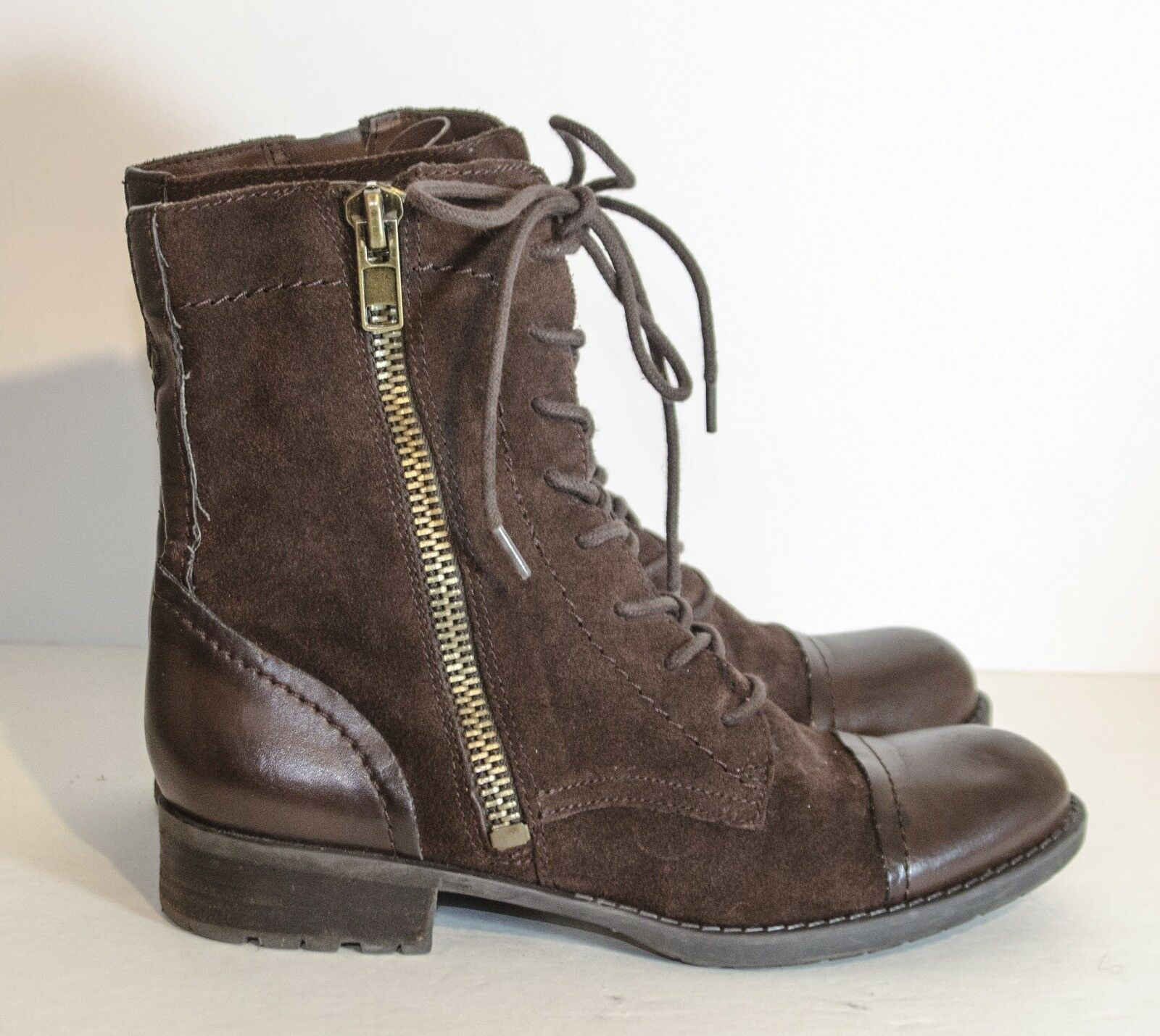 Franco Sarto Pura Leather Combat Boots Brown Leather Suede size 9.5M