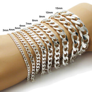925-Sterling-Silver-Cuban-Link-Chain-Bracelet-All-Widths-and-Lengths