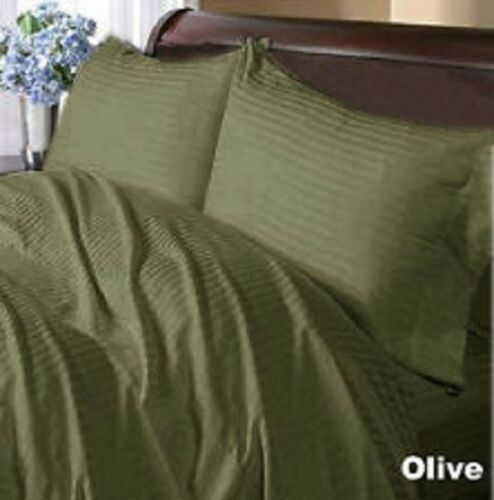 Olive Striped Queen 4 Piece Sheet Set 1000 Thread Count 100/% Egyptian Cotton