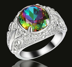 fashion-Rainbow-topaz-Crystal-Engagement-Ring-10KT-white-Gold-Filled-Size-8