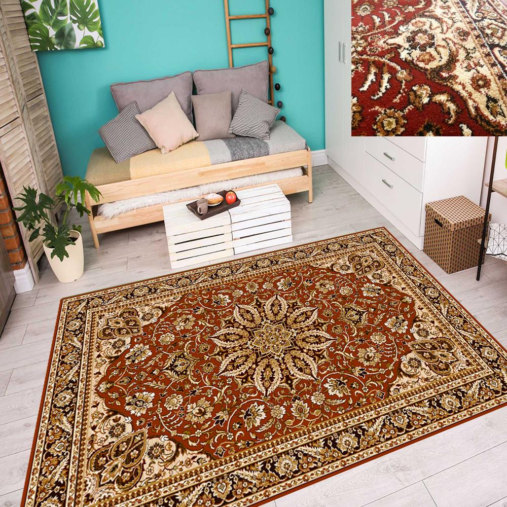 TAPPETO Orientale Tappeto Persiano Classico con motivo ornamentale rosso mattone terra 4 dimensioni