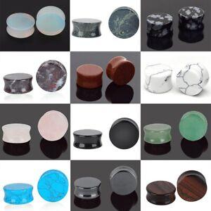 PAIR-Organic-Stone-Ear-Flesh-Tunnels-Plugs-Ear-Gauges-Saddle-Double-Flare-Gauges