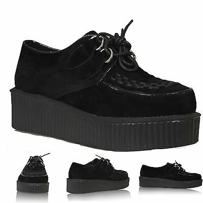 NEW WOMENS LADIES FLAT PLATFORM WEDGE LACE UP GOTH PUNK CREEPERS SHOES BOOTS