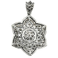 Round Marcasite Pendant Sterling Silver 925 Vintage Style Jewelry Gift 33 Mm