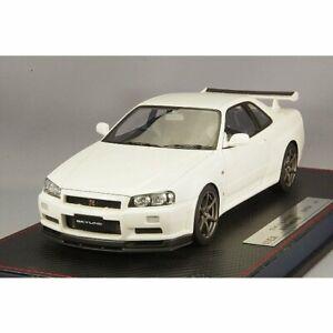 Idée 1/18 NISSAN Skyline GT-R (BNR34) MINICAR M-Spec nur 2002 perle blanche Hobby